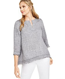 Frayed-Hem Linen Top, Created for Macy's