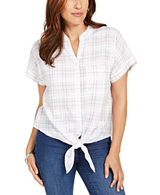 Petite Textured Tie-Front Shirt, Created for Macy's