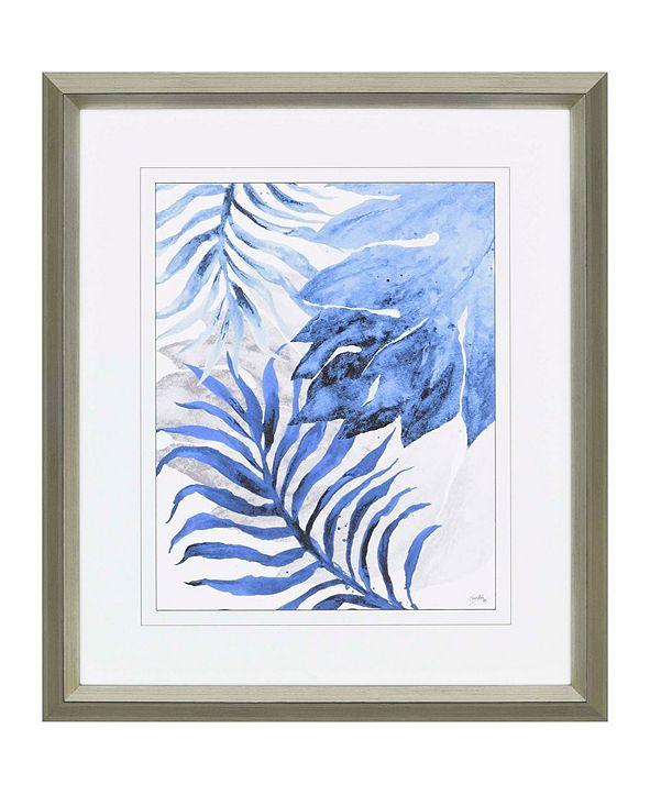 """Paragon Blue Fern and Leaf II Framed Wall Art, 43"""" x 37"""""""