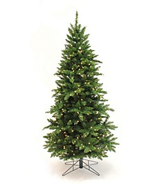 6.5' Pre-Lit Pencil Slim Christmas Tree with Warm White LED Lights