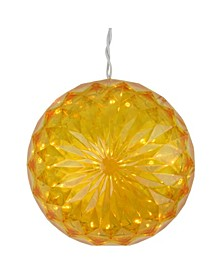 """6"""" Yellow LED Lighted Hanging Christmas Crystal Sphere Ball Outdoor Decoration"""