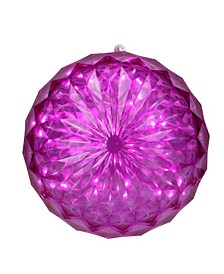 """6"""" Pink LED Christmas Crystal Sphere Hanging Outdoor Decoration"""