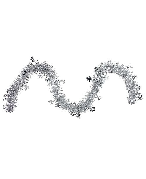 Northlight 50' Traditional Silver Christmas Tinsel Garland with Shiny Snowflakes - Unlit