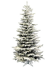 7.5' Pre-Lit Flocked Slim Christmas Tree with Warm White LED Lights