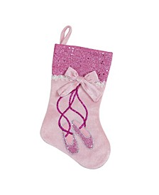 """14"""" Pink Embroidered Ballerina Shoes Christmas Stocking with Glitter Cuff and Bow"""