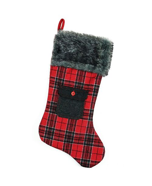 "Northlight 20.5"" Red and Black Plaid Christmas Stocking with Pocket and Faux Fur Cuff"