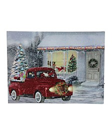 LED Fibre Optic Lighted Retro Truck Christmas Wall Art