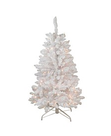 4' Snow White Pre-Lit Flocked Artificial Christmas Tree - Clear Lights