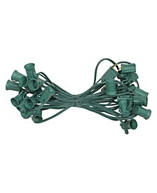 "25' Commercial C9 Christmas Light Socket Set - 12"" Spacing 18 Gauge Green Wire"