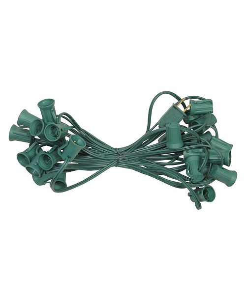 "Northlight 25' Commercial C9 Christmas Light Socket Set - 12"" Spacing 18 Gauge Green Wire"