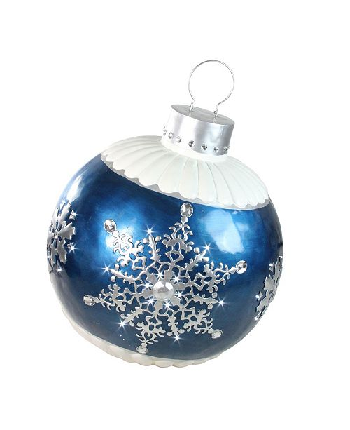Northlight Led Lighted Blue Ball Christmas ornament with Snowflake Outdoor Decoration