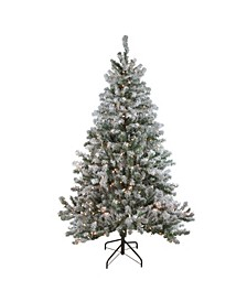 7' Pre-Lit Flocked Balsam Pine Artificial Christmas Tree - Clear Lights