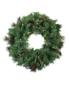 Pre-Lit Royal Oregon Pine Artificial Christmas Wreath 24-Inch Clear Lights