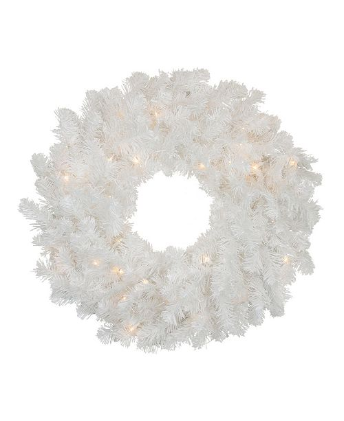 Northlight Pre-Lit Snow White Artificial Christmas Wreath - 24-Inch Clear Lights