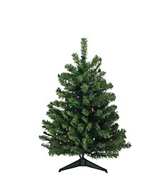 3'  Pre-Lit LED Canadian Pine Artificial Christmas Tree - Multi Lights