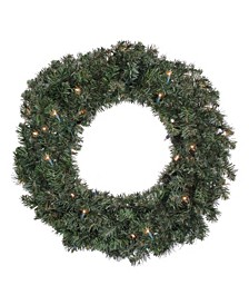 """24"""" Pre-Lit Canadian Pine Artificial Christmas Wreath - Clear Lights"""
