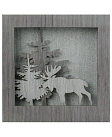 "10"" Glittered Moose Silhouette Box Framed Christmas Table Decoration"