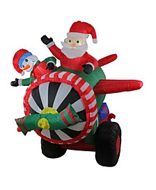6.5' Inflatable Animated Santa and Snowman in Airplane Christmas Outdoor Decoration
