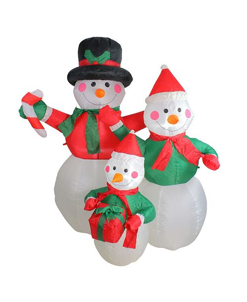 Northlight 4' Inflatable Snowman Family Lighted Christmas Yard Art Decoration