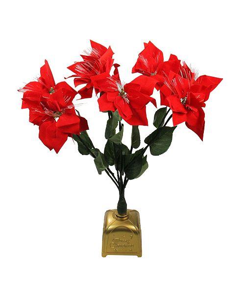 "Northlight 20"" Pre-Lit Fiber Optic Red Poinsettia Artificial Christmas Plant"