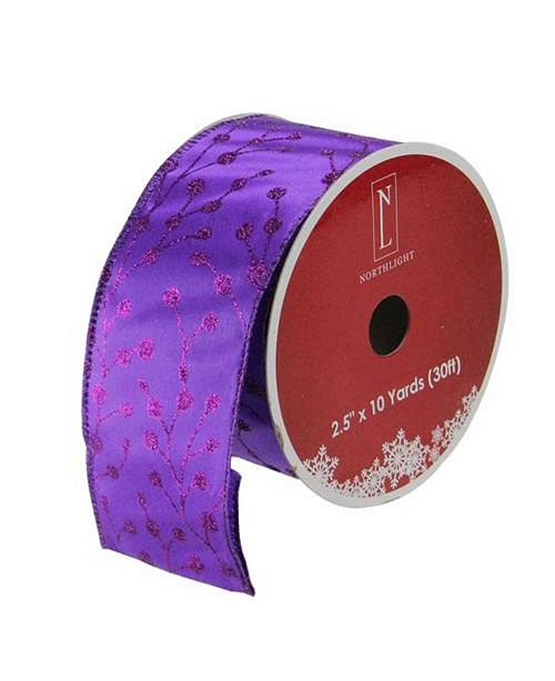 """Northlight Shimmering Purple Tree Wired Christmas Craft Ribbon 2.5"""" x 10 Yards"""