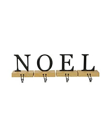 Set of 4 Metal and Wood NOEL Christmas Stocking Holder