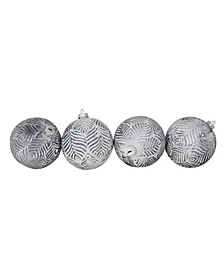"""4ct Pewter Silver and White Antique Style Glass Ball Christmas Ornaments 4"""" 100mm"""