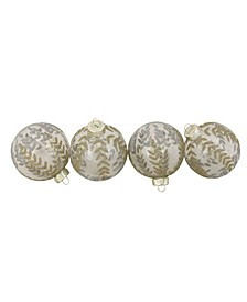 """4ct Clear with Gold and Silver Leaf Design Glass Ball Christmas Ornaments 3.25"""""""