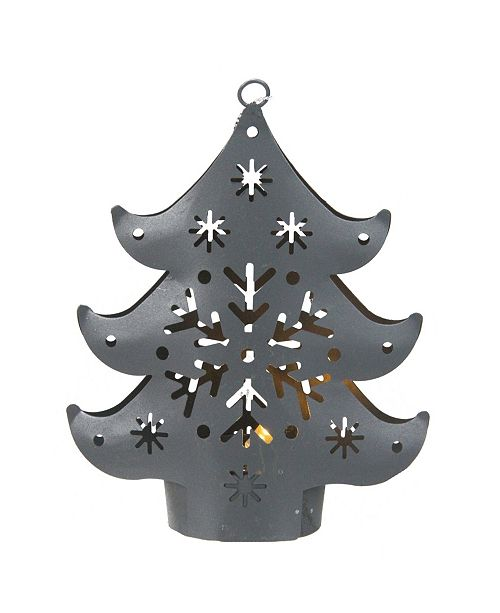 """Northlight 4.5"""" Gray Petite Tree Lighted Cut Out Christmas Ornament"""