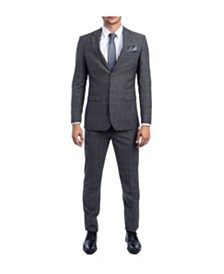 Tazio Men's Ultra Slim Fit Notch Lapel Windowpane Suit