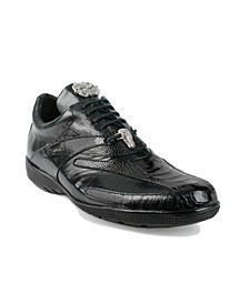 Men's Bene Leather and Ostrich Trimmed Dress Sneakers