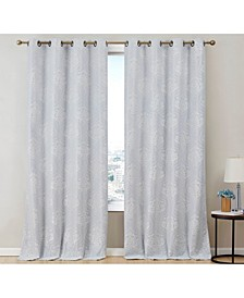 Obscura by Newcastle Damask Flocked 100% Blackout Grommet Curtain Panels - 50 W x 96 L - Set of 2