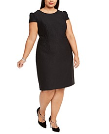 Plus Size Cap-Sleeve Jacquard Sheath Dress