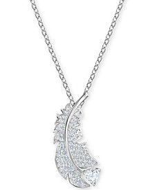 "Crystal Feather Pendant Necklace, 14-7/8"" + 2"" extender"