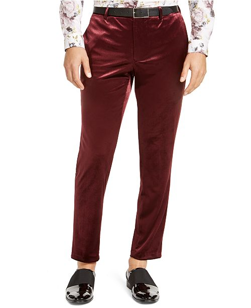 INC International Concepts INC Men's Slim-Fit Shiny Velvet Pants, Created For Macy's