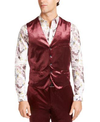 INC Men's Slim-Fit Shiny Velvet Vest, Created For Macy's