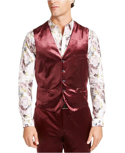 INC International Concepts INC Men's Big & Tall Slim-Fit Shiny Velvet Vest, Created For Macy's