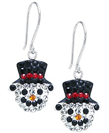 Pave Crystal Snowman Wire Drop Earrings set in Sterling Silver