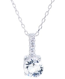 "Swarovski Crystal and Cubic Zirconia Bar Pendant with 18"" Chain in Sterling Silver. Available in Clear, Blue or Red"
