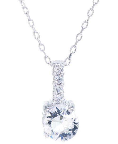"""Macy's Swarovski Crystal and Cubic Zirconia Bar Pendant with 18"""" Chain in Sterling Silver. Available in Clear, Blue or Red"""