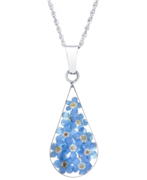 Medium Teardrop Dried Flower Pendant with 18