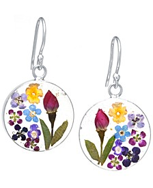 Medium Round Dried Flower Earrings in Sterling Silver. Available in Multi, Blue or Purple