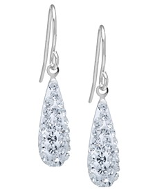 Pave Crystal Teardrop Earrings in Sterling Silver. Available in Clear, Black, Blue, Multi, Purple or Red