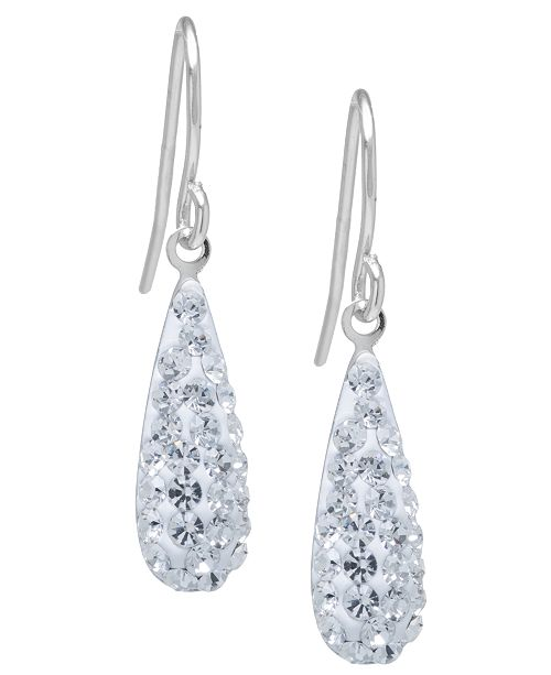 Macy's Pave Crystal Teardrop Earrings in Sterling Silver. Available in Clear, Black, Blue, Multi, Purple or Red
