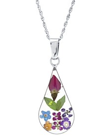 """Medium Teardrop Dried Flower Pendant with 18"""" Chain in Sterling Silver. Available in Multi, Blue or Yellow"""