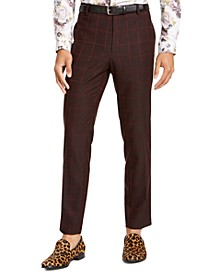I.N.C. Men's Big & Tall Slim-Fit Windowpane Pants, Created For Macy's