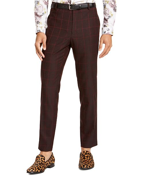 INC International Concepts INC Men's Slim-Fit Windowpane Pants, Created For Macy's