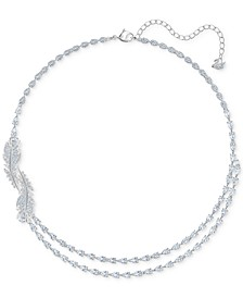 "Silver-Tone Crystal & Pavé Feather Layer Necklace, 14-7/8"" + 2"" extender"