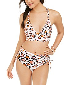 Juniors' Wild About You Printed Midkini Bikini Top & High Waist Bottoms, Created for Macy's