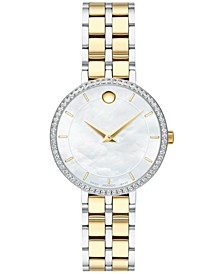 Women's Swiss Kora Diamond (1/4 ct. t.w.) Two-Tone PVD Stainless Steel Bracelet Watch 28mm